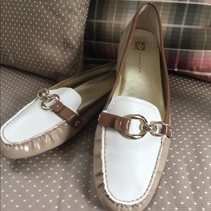 Anne Klein tan and white loafers